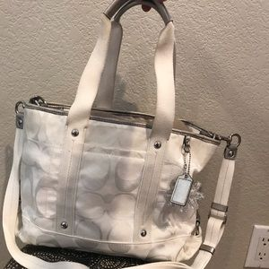 Coach purse | white canvas with crossbody